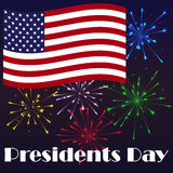 Bright Presidents Day background with american flag and firework. Holiday poster. Or placard template in simple cartoon style. Vector illustration. Holiday Stock Photography