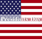 Bright Presidents Day background with american flag. Holiday poster or placard template. In simple cartoon style. Vector illustration. Holiday Collection Royalty Free Stock Photography