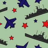 Vector seamless pattern with fighters and ships stock illustration