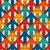 Bright print with interlocking arrows. Contemporary background with pointers. Colorful geometric seamless pattern. Bright modern print with interlocking arrows Royalty Free Stock Photography