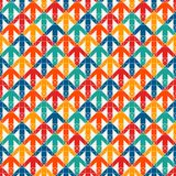 Bright print with interlocking arrows. Contemporary background with pointers. Colorful geometric seamless pattern. Bright modern print with interlocking arrows Stock Images
