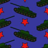 Vector illustration. Seamless pattern with green tanks royalty free illustration
