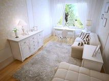 Bright provence bedroom trend Stock Photos