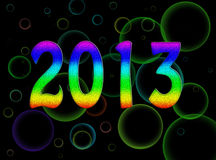 Bright, psychedelic 2013 new year - rainbow. Bright and cheery party style design stock illustration