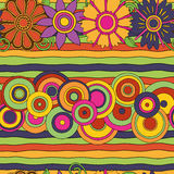 Bright psychedelic flowers, circles & lines  seamless pattern Royalty Free Stock Image