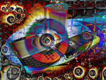 Bright Psychedelic Mobile Phone Abstract Stock Images