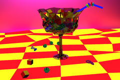 Bright psychedelic surrealistic painted wineglass Stock Photos