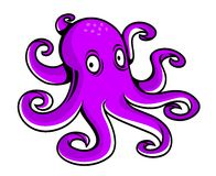Bright purple cartoon octopus Royalty Free Stock Image