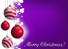 Bright purple Christmas background with red baubles. Decorative elements for holiday design. Vector. Illustration stock illustration