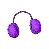 Bright purple fluffy fur ear muffs Stock Images
