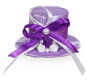 Bright purple lady's hat with satin ribbons Royalty Free Stock Images
