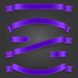 Bright purple ribbons and banners set for your Stock Photo