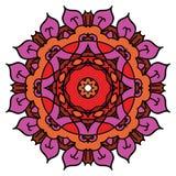 Bright purple vector mandala,  round element. Stock Photo