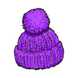 Bright purple winter knitted hat with pompon. Sketch style vector illustrations isolated on white background. Hand drawn woolen hat with a big fluffy pompom Stock Image