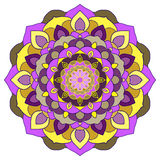 Bright purple and yellow colored hand-drawing lace ornamental abstract background Stock Photography