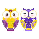 Bright purple and yellow colorful owls on white Royalty Free Stock Photography