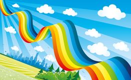 Bright rainbow in the blue sky. Bright rainbow in the blue sky over the city Stock Images