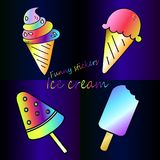 Bright rainbow collection of ice cream - neon meal poster Royalty Free Stock Image
