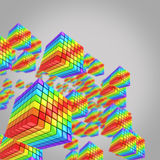 Bright rainbow-colored cubes on grey background Royalty Free Stock Images