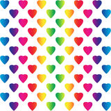 Bright rainbow colored hearts on white Royalty Free Stock Photography