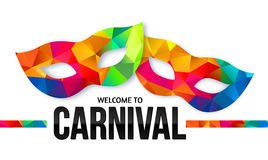 Bright rainbow colors carnival masks with black. Bright rainbow colors vector carnival masks with black sign Welcome to Carnival royalty free illustration