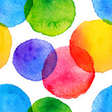 Bright rainbow colors watercolor painted circles Royalty Free Stock Images
