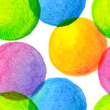 Bright rainbow colors watercolor painted circles Stock Photos