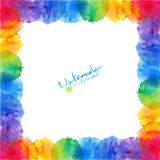 Bright rainbow colors watercolor stains frame Stock Images