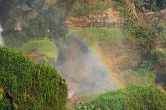 Bright rainbow at the Elephant Waterfall Dalat, Vietnam royalty free stock image