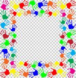 Multicolored handprints border isolated on transparent backgroun. Bright rainbow frame with empty copy space for text or image and multicolored handprints border Stock Photos