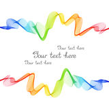 Bright Rainbow Frame of Wave Lines on White Background. Royalty Free Stock Photos