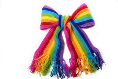Bright rainbow knitted scarf Royalty Free Stock Images