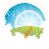 Bright Rainbow Landscape Circle Background Royalty Free Stock Image