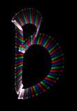 Bright rainbow letter B on black background. Isolated vector illustration