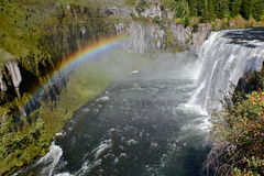 Bright rainbow of Mesa falls. Early afternoon at the Mesa falls of Henry's fork Stock Image