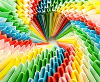 Bright rainbow modular origami close Royalty Free Stock Photos