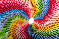 Bright rainbow modular origami close up Royalty Free Stock Image