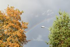 Bright rainbow over trees at small city. stock photo