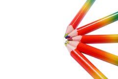 Bright rainbow pencils isolated on white background royalty free stock image