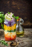 Bright rainbow salad  of tomatoes, carrots, pepper Royalty Free Stock Image