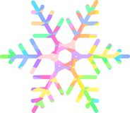 Bright rainbow snowflake with a pattern of colored diamonds stock illustration