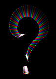 Bright rainbow symbol question mark on black Stock Images