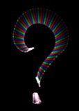 Bright rainbow symbol question mark on black. Background. Isolated stock illustration