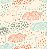 Bright rainy seamless background  Lace pattern with clouds, umbrellas and drops of rain  Cartoon doodle texture with  beauty d Stock Images