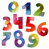 Bright raster hand drawn set with watercolor digits, drawing with brush and gradient colors. Grainy illustration for count and dec Stock Photos