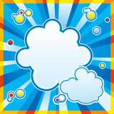 Bright rays background (blue). Bright background with rays and two cloud-shaped places for text. EPS8 vector Stock Image