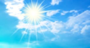 Bright realistic background with blue sky, clouds and sun.