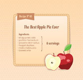 Bright recipe card with cute cartoon apple. Vector illustration Royalty Free Stock Photo