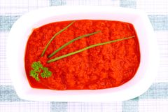Bright red ajvar in white bowl, parsley, spring onion Stock Photography