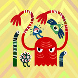 Bright Red Angry Monsters on Zig Zag Background. Vector Illustration Royalty Free Stock Photos